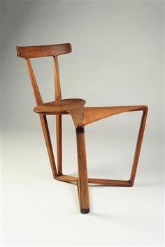 Anonymous; Oak and Leather Chair. 1950s.