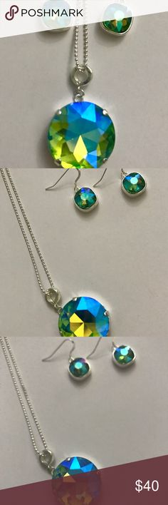 """Swarovski Peridot Pendant Necklace and Earring Set 18"""" chain holds a gorgeous 27mm Peridot Glacier Blue Pendant and a set of matching earrings -12mm square stones with Sterling Silver Earrings Swarovski Jewelry Necklaces"""