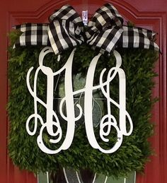Square Boxwood Wreath with Monograms or by MLRDesignsbySharonP
