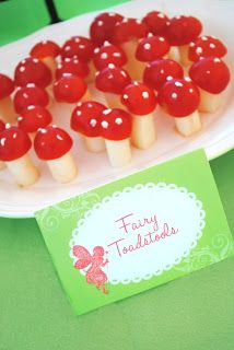 #Fairy #Party food ideas - mini toadstools. 1/4 cheese stick, 1/2 half cherry tomatoe and cream cheese to decorate the top of the toadstool as the spots. Clever idea from @Tiffany Boehme Belle: Garden Fairy Party Menu