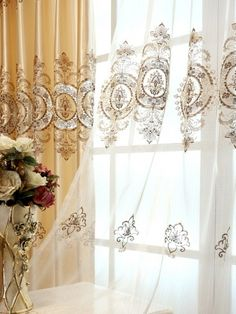 Baltic Embroidered Champagne Yellow color Floral Waterfall and Swag Valance and Sheers and Faux Silk Curtains Pair. one pair velvet curtains and one pair sheers and one panel velvet valance. Faux Silk Curtains, Pleated Curtains, Velvet Curtains, Valance Curtains, Custom Valances, Custom Made Curtains, Waterfall Valance, How To Make Curtains, Home