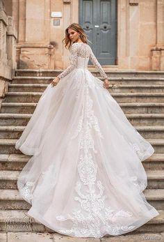 7f28bca90579 naviblue 2019 bridal long sleeves illusion bateau straight across neckline  heavily embellished bodice romantic a line