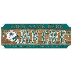 Miami Dolphins Personalized 6x17 Wood Signs.