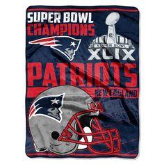 New England Patriots NFL Super Bowl 49 Champions Royal Plush Raschel Blanket (60inx80in)
