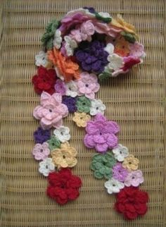 Crochet Flower Scarf  I should do this...so easy, really, just takes time.