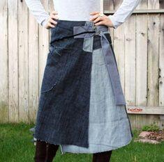 Reserved for 'malloym'  Denim Wrap skirt  KS 047 by KayLim on Etsy