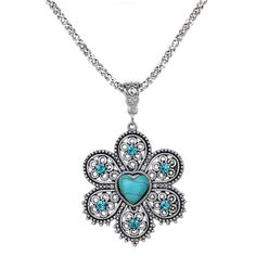 Wholesale Fashion Silver Tone Heart Turquoise Inlay Hollow Pendant Necklace Earrings Jewelry Set Gift