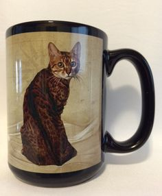 Classic Brown Spotted Bengal Cat Mug with type description on the back.