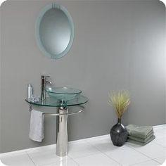 Stylish pedestal sink. A nice alternative to a vanity in a small space. http://www.nationalbuildersupply.com/fresca-vessels-steel-33-000-29-500-bathroom-sink-fvn1060-stainless-steel/p189650