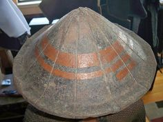 Edo period Japanese iron hat jingasa, worn by foot soldiers ashigaru.