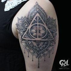 Harry Potter Deathly Hollows Mandala Tattoo | @tattoosbycapone