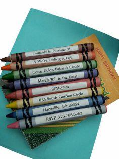Art party invite, craft party invitation, crayon, color, coloring, kid