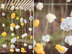 yellow and gray wedding via Acute Designs: Hanging paper flowers Yellow Grey Weddings, Gray Weddings, Yellow Wedding, Wedding Colors, Wedding Flowers, Hanging Paper Flowers, Paper Flower Garlands, Tissue Flowers, Paper Roses