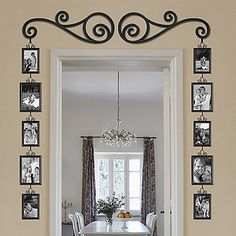 Decorate around a door or window with this set of frames that hang from a two elegant scrolls.