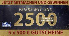 2500 Filialen Gewinnspiel: Jetzt mitquizzen & mit etwas Glück einen von 5 x 500 €-Gutscheinen gewinnen!