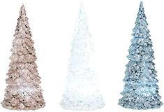 Amazon.com: Transpac Acrylic Glittered LED Lighted Christmas Tree Tabletop Decoration, 7 Inches High - Silver, White & Gold: Home & Kitchen Led Christmas Lights, Christmas Tree, Light Up Tree, Table Top Display, Collectible Figurines, White Gold, Holiday Decor, Tabletop, Inspiration