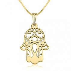 14K Gold Hamsa (Hand of Fatima) Necklace