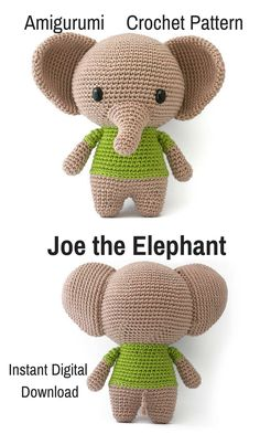 Who wouldn't fall in love with their own crocheted amigurumi Elephant? You can create your own Joe the Elephant with the use of this pattern. The pattern is an instant download which means you can print it and start gathering supplies for your Elephant right away! #crochet #amigurumi #ad #crochetdoll #amigurumidoll #amigurumipattern #elephant #instantdownload