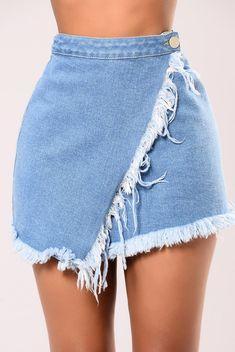 Denim Slayer Skirt - Light Stone Wash
