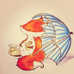 I hope you're all enjoying the summer! #fox #cute #illustration #art #drawing…