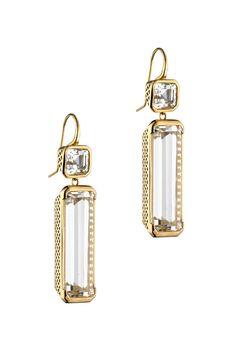 Ray Griffiths 18K Yellow Gold Topaz Drop Earrings