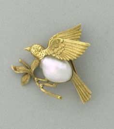 Antique 18k Gold Baroque Pearl Bird Brooch