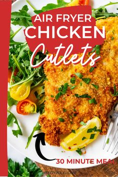 I love meals that I can have on the table in under 30 minutes, and Air Fryer Chicken Cutlets are my ultimate quick dinner! It is crispy, moist, and so satisfying. This is an easy weeknight meal that will keep you coming back for more. You can make this in a traditional air fryer or in your Ninja Foodi Grill with the air crisp function! Chicken Cutlet Recipes, Cutlets Recipes, Chicken Cutlets, Baked Chicken Recipes, Gluten Free Recipes For Breakfast, Healthy Gluten Free Recipes, Healthy Dinner Recipes, Pressure Cooker Potatoes, Easy Weeknight Meals