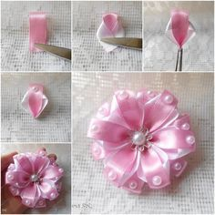 DIY Pretty Ribbon flower with pearls.  http://wonderfuldiy.com/wonderful-diy-pretty-ribbon-flower-with-pearls/
