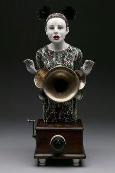 Go Figure by Kirsten Stingle Ceramic Sculpture Figurative, Mixed Media Art, Three Dimensional, Ceramic Art, Sculptures, Objects, Statue, Display, Ceramics