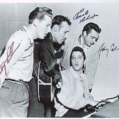 The Million Dollar Quartet,4 december 1956, Sun Record Studios Memphis, Tennessee. Elvis Presley, Jerry Lee Lewis, Carl Perkins en Johnny Cash