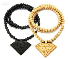 Wholesale 10PCS Good Quality Hip Hop Wood DIAMOND PENDANT NECKLACE w/ 36 Wooden BALL CHAIN, Free shipping, $1.42-3.3/Piece |