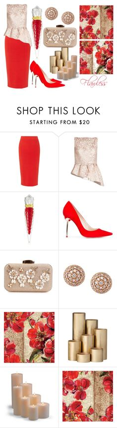 """Flawless"" by akshera ❤ liked on Polyvore featuring Karen Millen, Osman, Christian Louboutin, Sophia Webster, Alinka, ferm LIVING, Frontgate, gold and red"