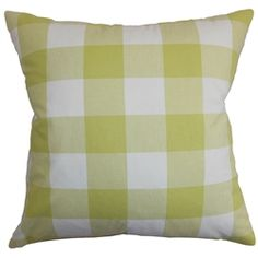 This super-soft and 100% cotton-made accent pillow lend a splash of summery shade into your interiors. The green and white color palette is a great color to add in time for the warm season. This accent pillow features a classic plaid pattern which is very easy to coordinate with other patterns and solids. This square pillow is ideal for contemporary and modern decor styles and various settings. $55.00  #pillows #plaid #tosspillow
