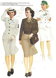"See ""Legend"" at the upper left for description of what each uniform represents. Ww2 Uniforms, Girls Uniforms, Military Uniforms, Military Women, Military Fashion, Women's Army Corps, Marine Corps, Ww2 German, English Army"