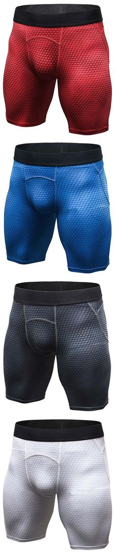 US$10.95 Mens 3D Printed Elastic Quick-drying Fitness Jogging Training Tights Sport Shorts