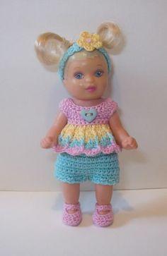 Crochet for 3 5 inch Barbie Happy Family Toddler Nikki OOAK Baby Short Set | eBay