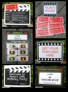 Movie Night Party Invitation & Printable Collection - you personalize at home with Adobe Reader. Instant Download!
