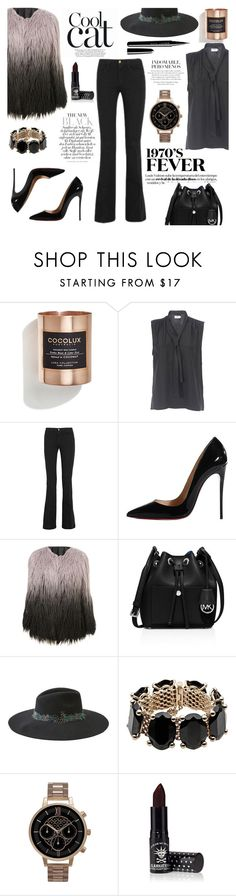 """""""That '70s Show"""" by deckerandlee ❤ liked on Polyvore featuring Cocolux, Frame Denim, Christian Louboutin, MICHAEL Michael Kors, American Eagle Outfitters, Valentino, Olivia Burton, Manic Panic and Marc Jacobs"""