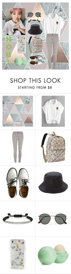 """""""J-Hope ideal type"""" by infyric ❤ liked on Polyvore featuring Graham & Brown, River Island, Everest, Dr. Martens, Herschel Supply Co., Thomas Sabo, Ray-Ban, Rebecca Minkoff and Eos"""
