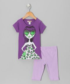 Take a look at this Purple Girl Tee & Bermuda Shorts - Toddler by My Sweet Doll on #zulily today!
