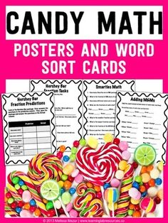 Have fun, eat candy, and learn while using these candy math activities.  Included in this packet are:Hersheys - Fraction PredictionHersheys - Fractions (2 pages)Hersheys - Fraction AdditionSmarties - Fractions Record Sheet for each colorSmarties - Fraction Table (numerator, denominator, fraction)Smarties - Fractions of a PackageSmarties - Bar GraphM&Ms - Color PredictionM&Ms - Comparing Colors (<, >, =)M&Ms - Color additionM&Ms - Bar GraphDownload the preview for a sneak...