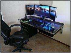 Gaming Computer Desks For Home - Desk : Home Design Ideas Gaming Desk Table, Good Gaming Desk, Gaming Computer Desk, Pc Desk, Best Computer, Small Computer, Office Desk, Gaming Setup, Computer Mouse