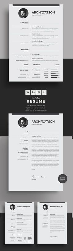 New Professional CV / Resume Templates with Cover Letter | Design | Graphic Design Junction #ad