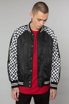 Black Checker Paneled Varsity Jacket Elwood Clothing, Urban Street Style, Mens Joggers, Hoodies, Sweatshirts, French Terry, Windbreaker, Street Wear, Bomber Jacket
