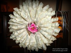 Pink Old Book Pages wreath