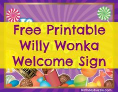 Use this free printable Willy Wonka welcome sign to decorate your Willy Wonka birthday party. The free template is great as a sign to set the mood for the party and to greet guests as they enter your venue. Party Printables, Free Printables, Party Background, Pattern Background, Charlie Chocolate Factory, Chocolate Party, Wonka Chocolate, Party Themes, Ideas Party