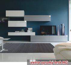 Obývací stěna, bílo / šedý extra vysoký lesk HG, VENECIA - Obývací stěny a sestavy | nabytek-bydleni.cz