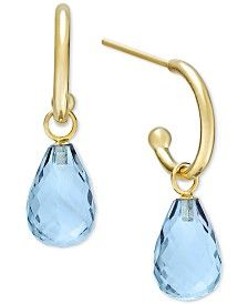 Blue Topaz Hoop Earrings in 14k Gold (8 ct. t.w.)