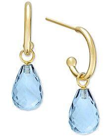 Blue Topaz Hoop Earrings in 14k Gold (8 ct. t.w.)