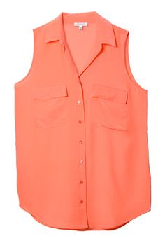 button-up peach sleeveless blouse